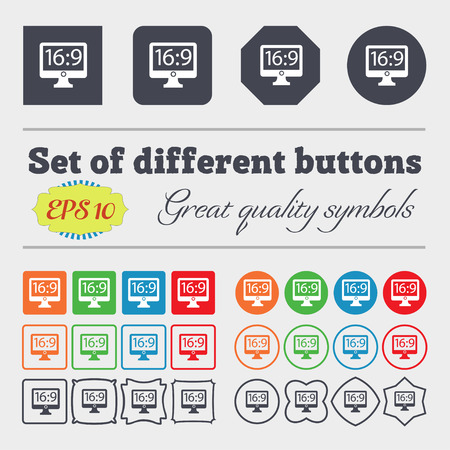 aspect: Aspect ratio 16:9 widescreen tv icon sign. Big set of colorful, diverse, high-quality buttons. Vector illustration
