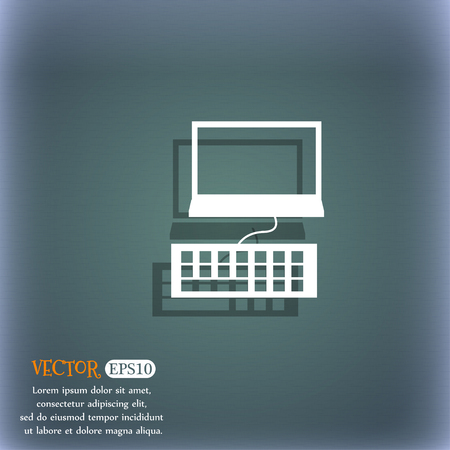 qwerty: Computer monitor and keyboard Icon. On the blue-green abstract background with shadow and space for your text. Vector illustration Illustration
