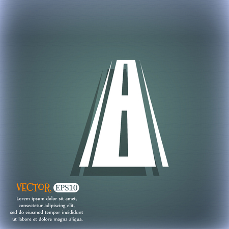 avenue: Road icon sign. On the blue-green abstract background with shadow and space for your text. Vector illustration