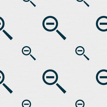 interface menu tool: Magnifier glass, Zoom tool icon sign. Seamless pattern with geometric texture. Vector illustration
