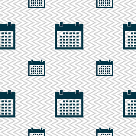event planning: Calendar sign icon. days month symbol. Date button. Seamless pattern with geometric texture. Vector illustration Illustration