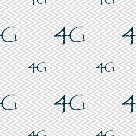 telecommunications: 4G sign icon. Mobile telecommunications technology symbol. Seamless pattern with geometric texture. Vector illustration