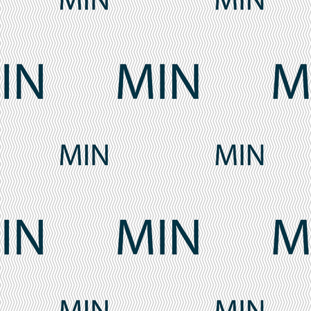 minimum sign icon. Seamless pattern with geometric texture. Vector illustration
