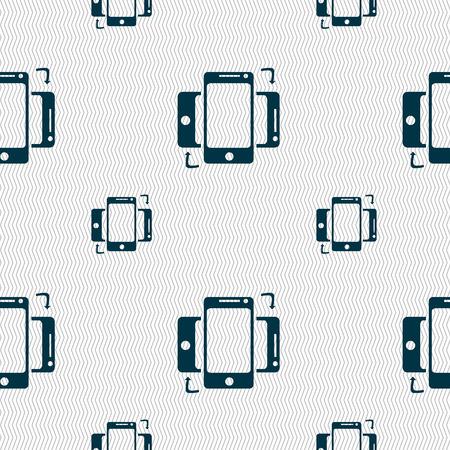 data synchronization: Synchronization sign icon. smartphones sync symbol. Data exchange. Seamless pattern with geometric texture. Vector illustration