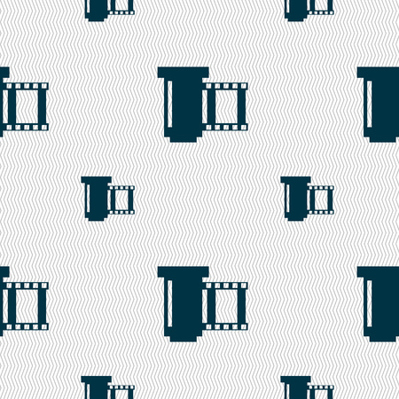 processed: negative films icon symbol.. Seamless pattern with geometric texture. Vector illustration