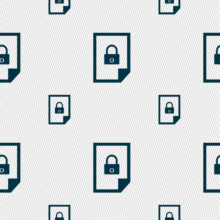 locked icon: File locked icon sign. Seamless pattern with geometric texture. Vector illustration Illustration