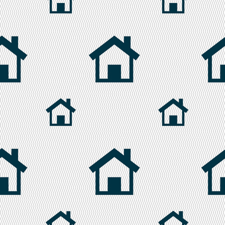 main: Home sign icon. Main page button. Navigation symbol. Seamless pattern with geometric texture. Vector illustration