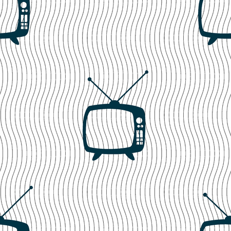 television set: Retro TV mode sign icon. Television set symbol. Seamless pattern with geometric texture. Vector illustration