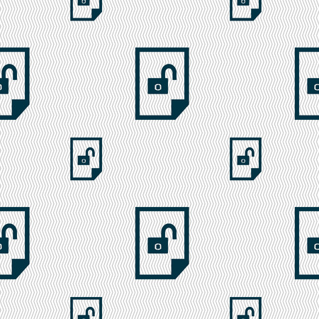 lockout: File unlocked icon sign. Seamless pattern with geometric texture. Vector illustration Illustration