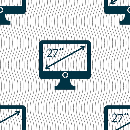 27: diagonal of the monitor 27 inches icon sign. Seamless pattern with geometric texture. Vector illustration