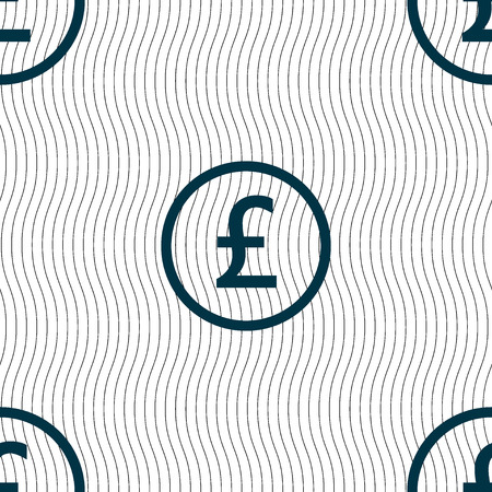 sterling: Pound sterling icon sign. Seamless pattern with geometric texture. Vector illustration