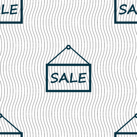 sales representative: SALE tag icon sign. Seamless pattern with geometric texture. Vector illustration Illustration