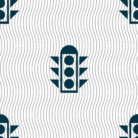light signal: Traffic light signal icon sign. Seamless pattern with geometric texture. Vector illustration Illustration