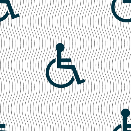 handicapped: Disabled sign icon. Human on wheelchair symbol. Handicapped invalid sign. Seamless pattern with geometric texture. Vector illustration Illustration