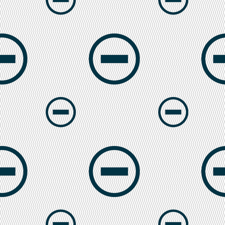 minus sign: Minus sign icon. Negative symbol. Zoom out. Seamless pattern with geometric texture. Vector illustration