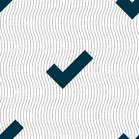 confirm: Check mark sign icon . Confirm approved symbol. Seamless pattern with geometric texture. Vector illustration