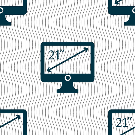 inches: diagonal of the monitor 21 inches icon sign. Seamless pattern with geometric texture. Vector illustration