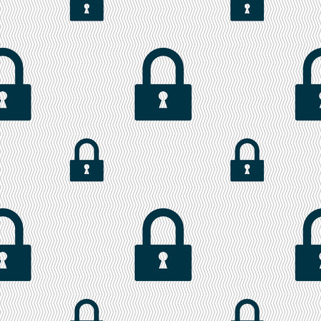 locker: Lock sign icon. Locker symbol. Seamless pattern with geometric texture. Vector illustration Illustration