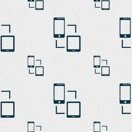 synchronization: Synchronization sign icon. communicators sync symbol. Data exchange. Seamless pattern with geometric texture. Vector illustration