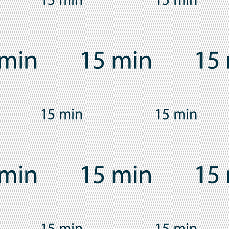 15: 15 minutes sign icon. Seamless pattern with geometric texture. Vector illustration