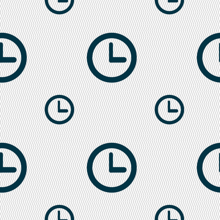 mechanical texture: Clock sign icon. Mechanical clock symbol. Seamless pattern with geometric texture. Vector illustration