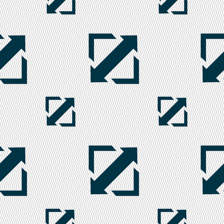 size: Deploying video, screen size icon sign. Seamless pattern with geometric texture. Vector illustration