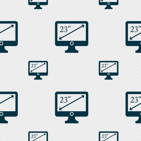 inches: diagonal of the monitor 23 inches icon sign. Seamless pattern with geometric texture. Vector illustration
