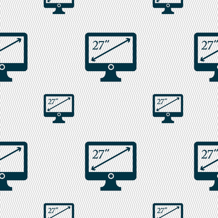 inches: diagonal of the monitor 27 inches icon sign. Seamless pattern with geometric texture. Vector illustration