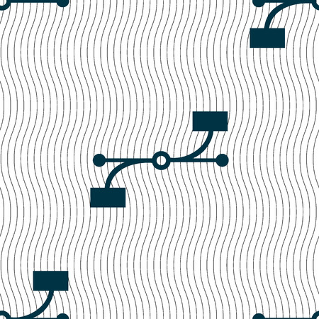 bezier: Bezier Curve icon sign. Seamless pattern with geometric texture. Vector illustration
