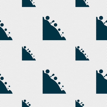 tumble: Rockfall icon. Seamless pattern with geometric texture. Vector illustration