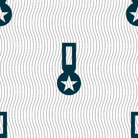 honor: Award, Medal of Honor icon sign. Seamless pattern with geometric texture. Vector illustration Illustration