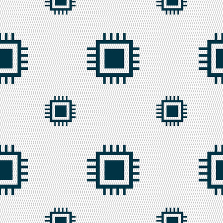 micro chip: Central Processing Unit Icon. Technology scheme circle symbol. Seamless pattern with geometric texture. Vector illustration