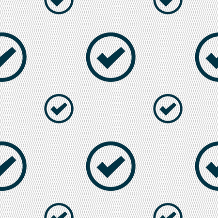 Check mark sign icon . Confirm approved symbol. Seamless pattern with geometric texture. Vector illustration