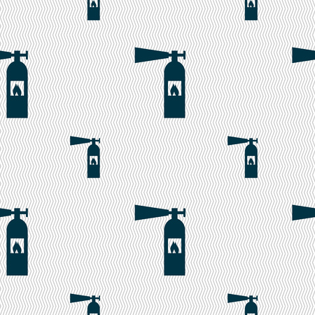 suppression: fire extinguisher icon sign. Seamless pattern with geometric texture. Vector illustration Illustration