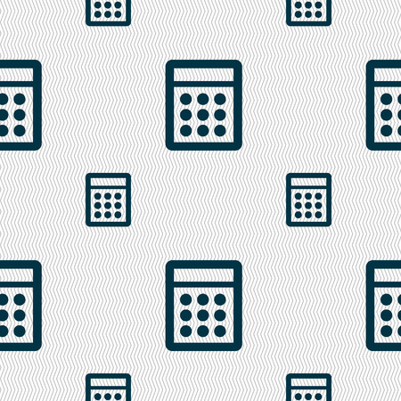 bookkeeping: Calculator sign icon. Bookkeeping symbol. Seamless pattern with geometric texture. Vector illustration