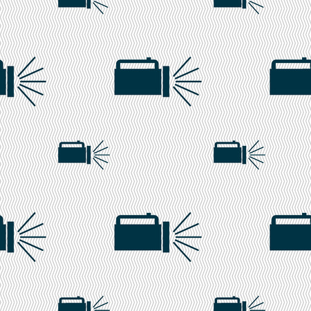 electric torch: flashlight icon sign. Seamless pattern with geometric texture. Vector illustration