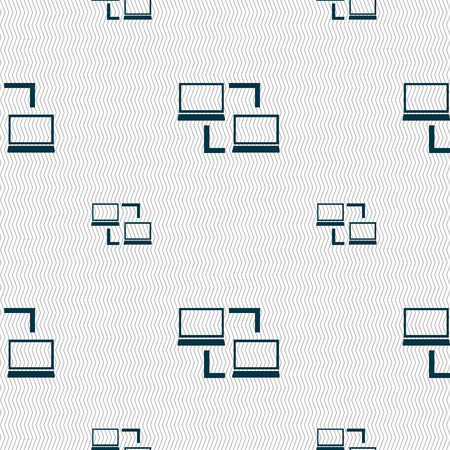 data synchronization: Synchronization sign icon. Notebooks sync symbol. Data exchange. Seamless pattern with geometric texture. Vector illustration