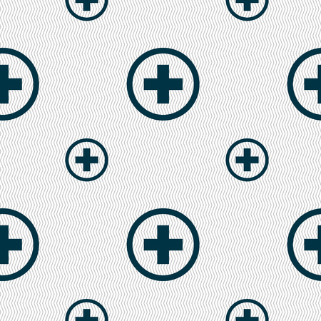 zoom in: Plus sign icon. Positive symbol. Zoom in. Seamless pattern with geometric texture. Vector illustration Vectores
