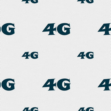 telecommunications technology: 4G sign icon. Mobile telecommunications technology symbol. Seamless pattern with geometric texture. Vector illustration