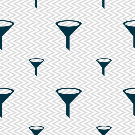 filtering: Funnel icon sign. Seamless pattern with geometric texture. Vector illustration