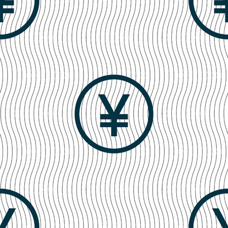 yuan: Japanese Yuan icon sign. Seamless pattern with geometric texture. Vector illustration