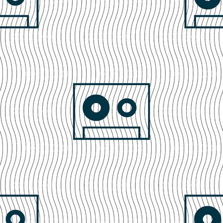 compact cassette: cassette sign icon. Audiocassette symbol. Seamless pattern with geometric texture. Vector illustration