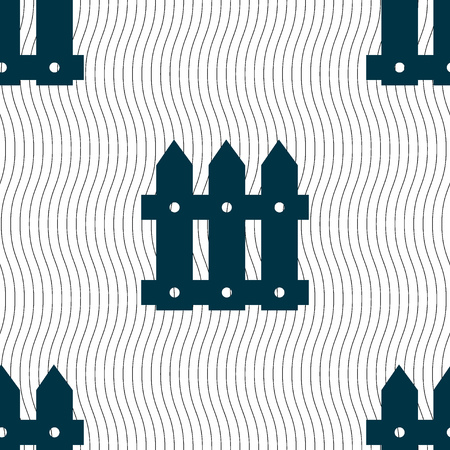 bucolic: Fence icon sign. Seamless pattern with geometric texture. Vector illustration