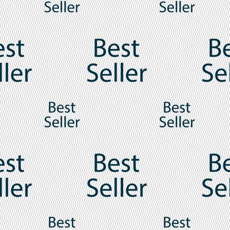 seller: Best seller sign icon. Best seller award symbol. Seamless pattern with geometric texture. Vector illustration