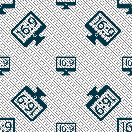 widescreen: Aspect ratio 16:9 widescreen tv icon sign. Seamless pattern with geometric texture. Vector illustration Illustration