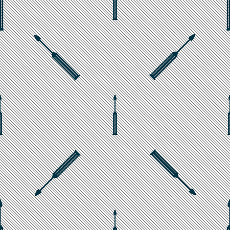 sig: Screwdriver tool sign icon. Fix it symbol. Repair sig. Seamless pattern with geometric texture. Vector illustration