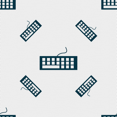 input device: Computer keyboard Icon. Seamless pattern with geometric texture. Vector illustration Illustration