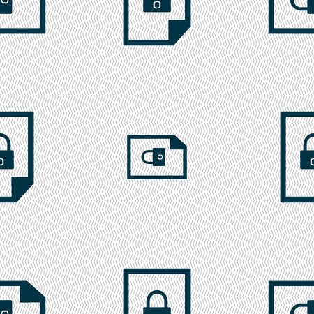 locked icon: File locked icon sign. Seamless abstract background with geometric shapes. Vector illustration
