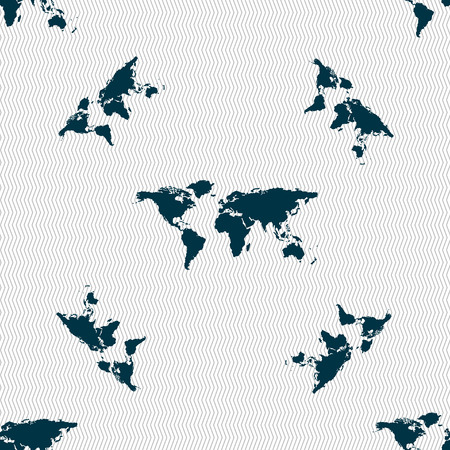 geography: Globe sign icon. World map geography symbol. Seamless pattern with geometric texture. Vector illustration Illustration