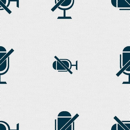 voices: No Microphone sign icon. Speaker symbol. Seamless abstract background with geometric shapes. Vector illustration